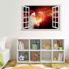 Magic Santa Claus 3D Christmas Decorative Removable Wall Sticker - FLAME RED