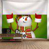 Christmas Snowman Pattern Wall Art Tapestry - GREEN AND WHITE