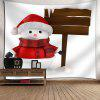 Snowy Christmas Snowman Pattern Wall Art Tapestry - WHITE + RED