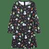 Christmas Snowman Deer Graphic Flare Dress - BLACK