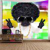 Cool Dog With Afro Curly Hair Pattern Wall Art Tapestry - COLORFUL