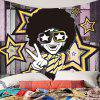 Afro Curly Hair Hip Hop Man Pattern Wall Tapestry - COR MISTURA