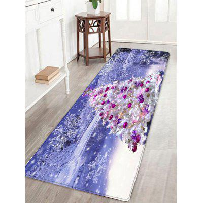 Christmas Tree Snowscape Print Flannel Skidproof Bath Rug