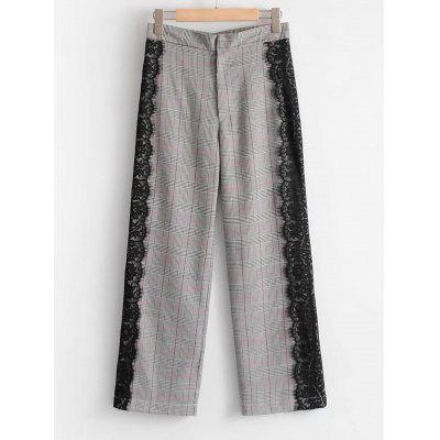 Lace Panel Checked Wide Leg Pants