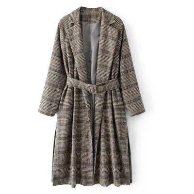 Checked Slit Belted Wool Blend Coat