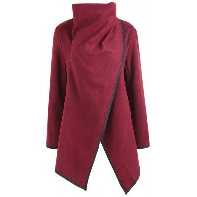 Wrap Collar Contrasting Hem Wool Blend Coat