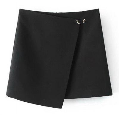 Asymmetrical Metallic Ring Mini Skirt