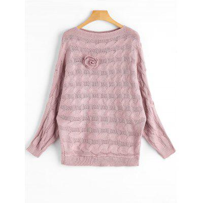 Dolman Sleeve Floral Appliques Cable Knit Sweater