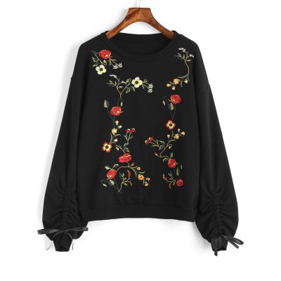 Buy Floral Embroidered Cinched Sleeve Sweatshirt, BLACK, S, Apparel, Women's Clothing, Sweatshirts & Hoodies for $41.30 in GearBest store