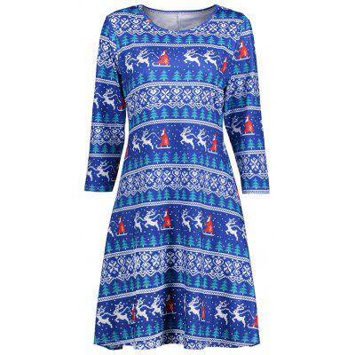 Casual Christmas Print Dress