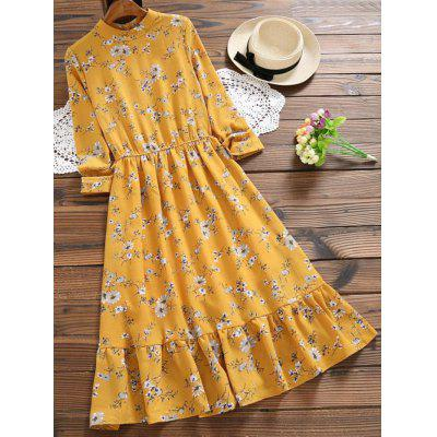 Buy MUSTARD L Floral Print Cut Out Flare Dress for $29.56 in GearBest store