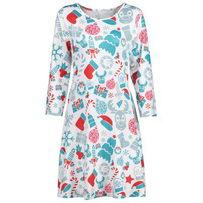 Shift Dress with Christmas Ornaments Print