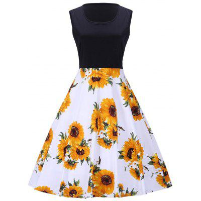 Sunflower Print Vintage Sleeveless Dress