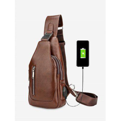 Faux Leather Chest Bag With USB Charging Port