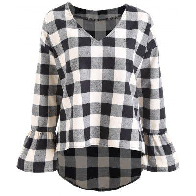 Plus Size Flare Sleeve Plaid Top