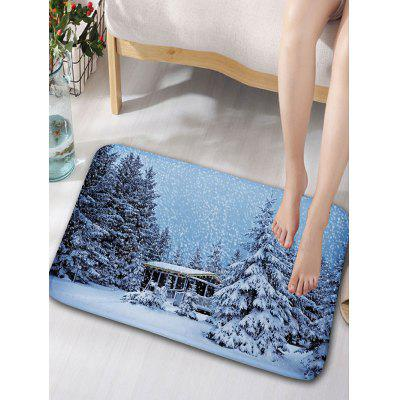 Christmas Snowscape Print Nonslip Flannel Bathroom Rug