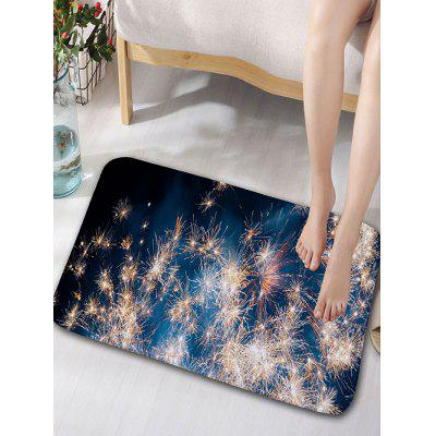 Fireworks Print Skidproof Flannel Bath Rug