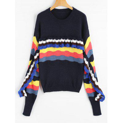 Buy Crew Neck Frilled Color Block Sweater, CADETBLUE, Apparel, Women's Clothing, Sweaters & Cardigans for $38.36 in GearBest store