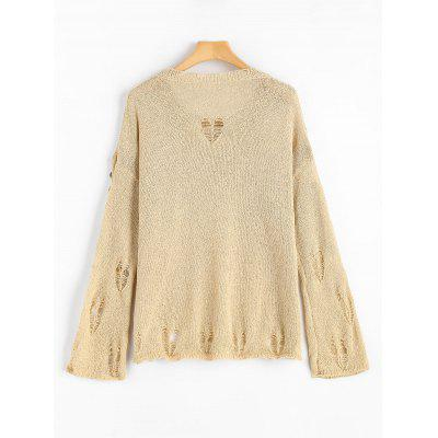 Paillette Faux Pear Embellished Distressed KnitwearSweaters &amp; Cardigans<br>Paillette Faux Pear Embellished Distressed Knitwear<br><br>Collar: Round Neck<br>Material: Acrylic<br>Package Contents: 1 x Knitwear<br>Pattern Type: Solid<br>Sleeve Length: Full<br>Style: Casual<br>Type: Pullovers<br>Weight: 0.3400kg