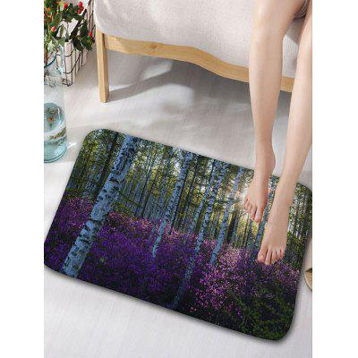 Flannel Skidproof Flower Forest Print Bath Rug