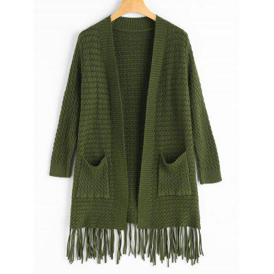 Fringed Open Front Cardigan with Pockets