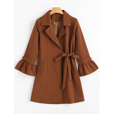Flare Sleeve Snap Button Lapel Coat
