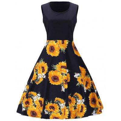 Buy Sunflower Print Vintage Sleeveless Dress BLACK L for $34.15 in GearBest store