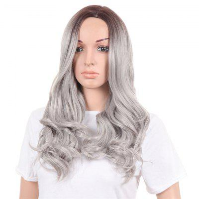 Long Side Parting Wavy Ombre Synthetic Wig