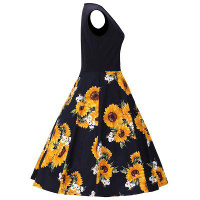 Sunflower Print Vintage Sleeveless DressWomens Dresses<br>Sunflower Print Vintage Sleeveless Dress<br><br>Dress Type: Fit and Flare Dress<br>Dresses Length: Mid-Calf<br>Material: Polyester<br>Neckline: Round Collar<br>Package Contents: 1 x Dress<br>Pattern Type: Print, Floral<br>Season: Fall, Spring, Summer, Winter<br>Silhouette: A-Line<br>Sleeve Length: Sleeveless<br>Style: Vintage<br>Weight: 0.3800kg<br>With Belt: No