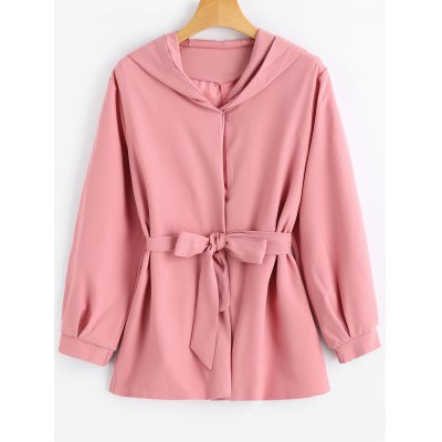 Belted Snap Button Hooded Coat