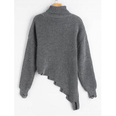 Turtleneck Ribbed Asymmetric SweaterSweaters &amp; Cardigans<br>Turtleneck Ribbed Asymmetric Sweater<br><br>Collar: Turtleneck<br>Material: Acrylic<br>Package Contents: 1 x Sweater<br>Sleeve Length: Full<br>Style: Fashion<br>Type: Pullovers<br>Weight: 0.4900kg
