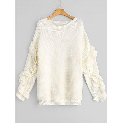 White Ruffles Oversized Pullover Sweater ONE SIZE-$29.26 Online ...