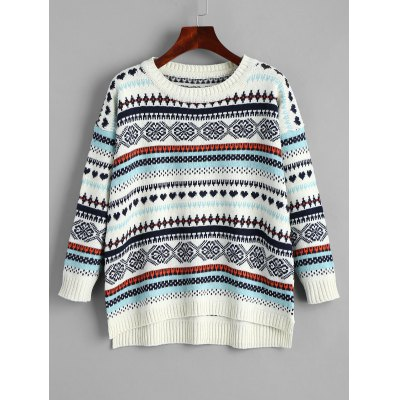 Tribal High Low Pullover Sweater