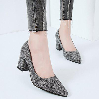 Pointed Toe Chunky Heel PumpsWomens Pumps<br>Pointed Toe Chunky Heel Pumps<br><br>Heel Height: 7.5CM<br>Heel Height Range: Med(1.75-2.75)<br>Heel Type: Chunky Heel<br>Occasion: Casual<br>Package Contents: 1 x Pumps (pair)<br>Pumps Type: Basic<br>Season: Spring/Fall, Winter<br>Shoe Width: Medium(B/M)<br>Toe Shape: Pointed Toe<br>Toe Style: Closed Toe<br>Upper Material: Suede<br>Weight: 1.3800kg