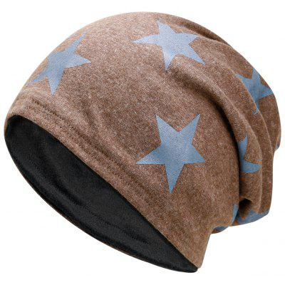 Outdoor Star Pattern Embellished Reversible Lightweight Beanie - Khaki
