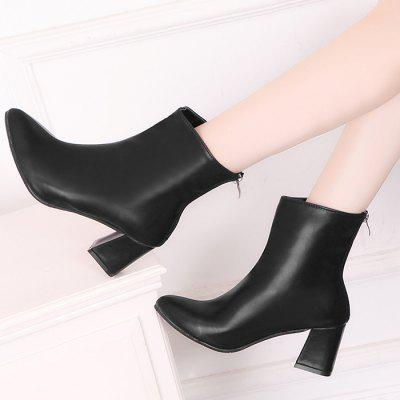 Pointed Toe Mid Heel Short BootsWomens Boots<br>Pointed Toe Mid Heel Short Boots<br><br>Boot Height: Ankle<br>Boot Type: Fashion Boots<br>Closure Type: Zip<br>Gender: For Women<br>Heel Height: 6.5CM<br>Heel Height Range: Med(1.75-2.75)<br>Heel Type: Chunky Heel<br>Package Contents: 1 x Boots (pair)<br>Pattern Type: Solid<br>Season: Spring/Fall, Winter<br>Shoe Width: Medium(B/M)<br>Toe Shape: Pointed Toe<br>Upper Material: PU<br>Weight: 1.1200kg