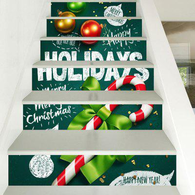 Christmas Candy Cane Pattern Decorative Stair Decals