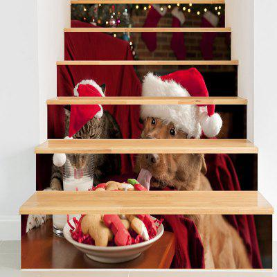 Christmas Dog Cat Pattern Decorative Stair Decals