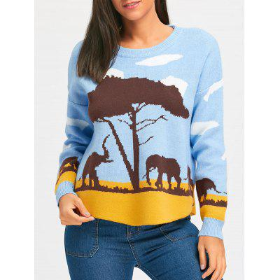 Drop Shoulder African Steppe and Elephant Sweater