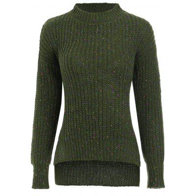 Crew Neck High Low Side Slit Sweater