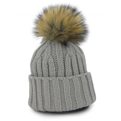 Outdoor Removable Fuzzy Ball Embellished Flanging Knit Beanie