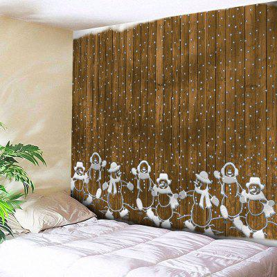 Buy WOOD COLOR Christmas Wooden and Snowman Printed Waterproof Wall Tapestry for $12.27 in GearBest store