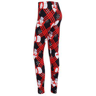 Snowman Print Checked Christmas Skinny Leggings