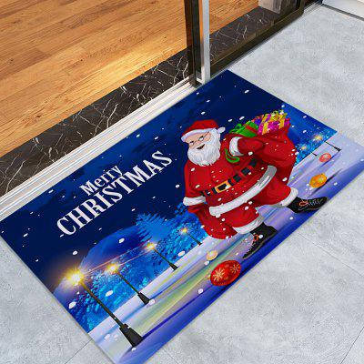 Santa Claus Pattern Nonslip Coral Fleece Christmas Bath Mat