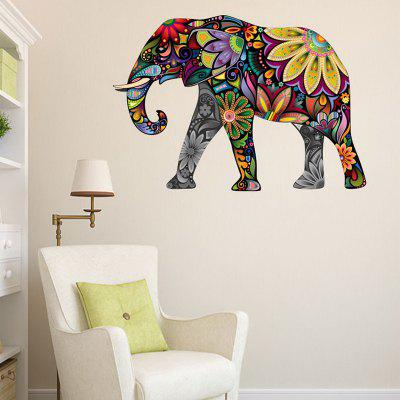 Buy Floral Elephant Pattern Waterproof Decorative Wall Sticker COLORFUL for $15.67 in GearBest store