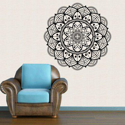 Buy Mandala Flower Pattern Waterproof Decorative Wall Art Sticker BLACK WHITE for $10.91 in GearBest store