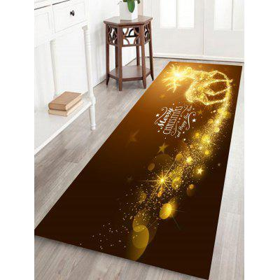 Sparkling Christmas Deer Print Fleece Antiskid Bath Rug