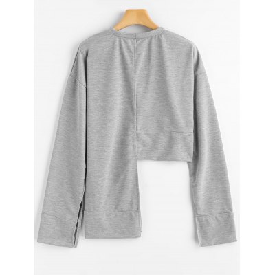 Slit Sleeve Asymmetrical SweatshirtSweatshirts &amp; Hoodies<br>Slit Sleeve Asymmetrical Sweatshirt<br><br>Clothing Style: Sweatshirt<br>Material: Polyester<br>Package Contents: 1 x Sweatshirt<br>Pattern Style: Solid<br>Shirt Length: Long<br>Sleeve Length: Full<br>Weight: 0.3800kg