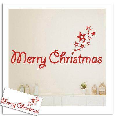 Merry Christmas Stars Pattern Wall Art Stickers For Bedroom