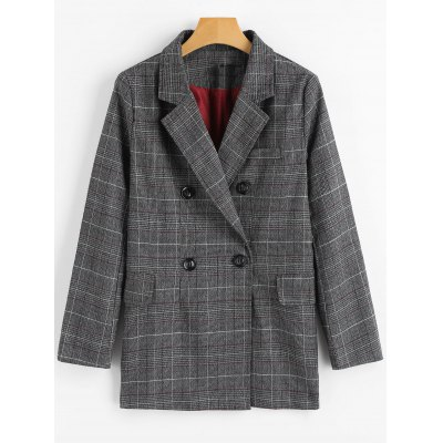 Double Breasted Checked Lapel Collar Blazer